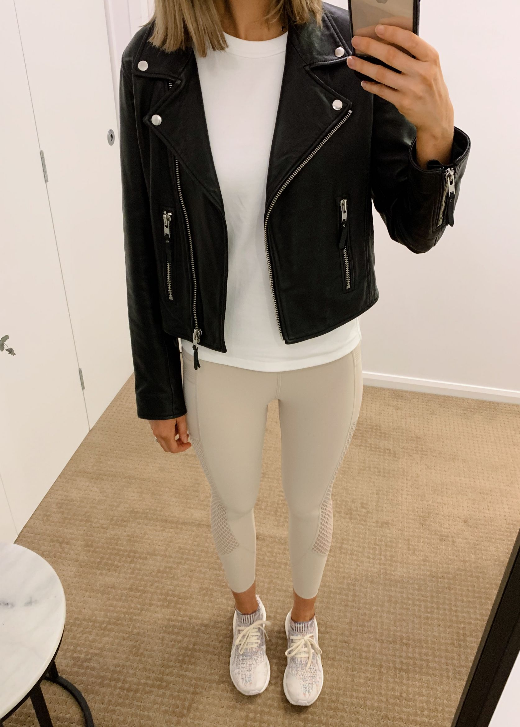 athleisure outfit ideas pinterest fashion blogger style neutral athletic wear workout everyday outfits errands black leather biker jacket white tee and leggings 4