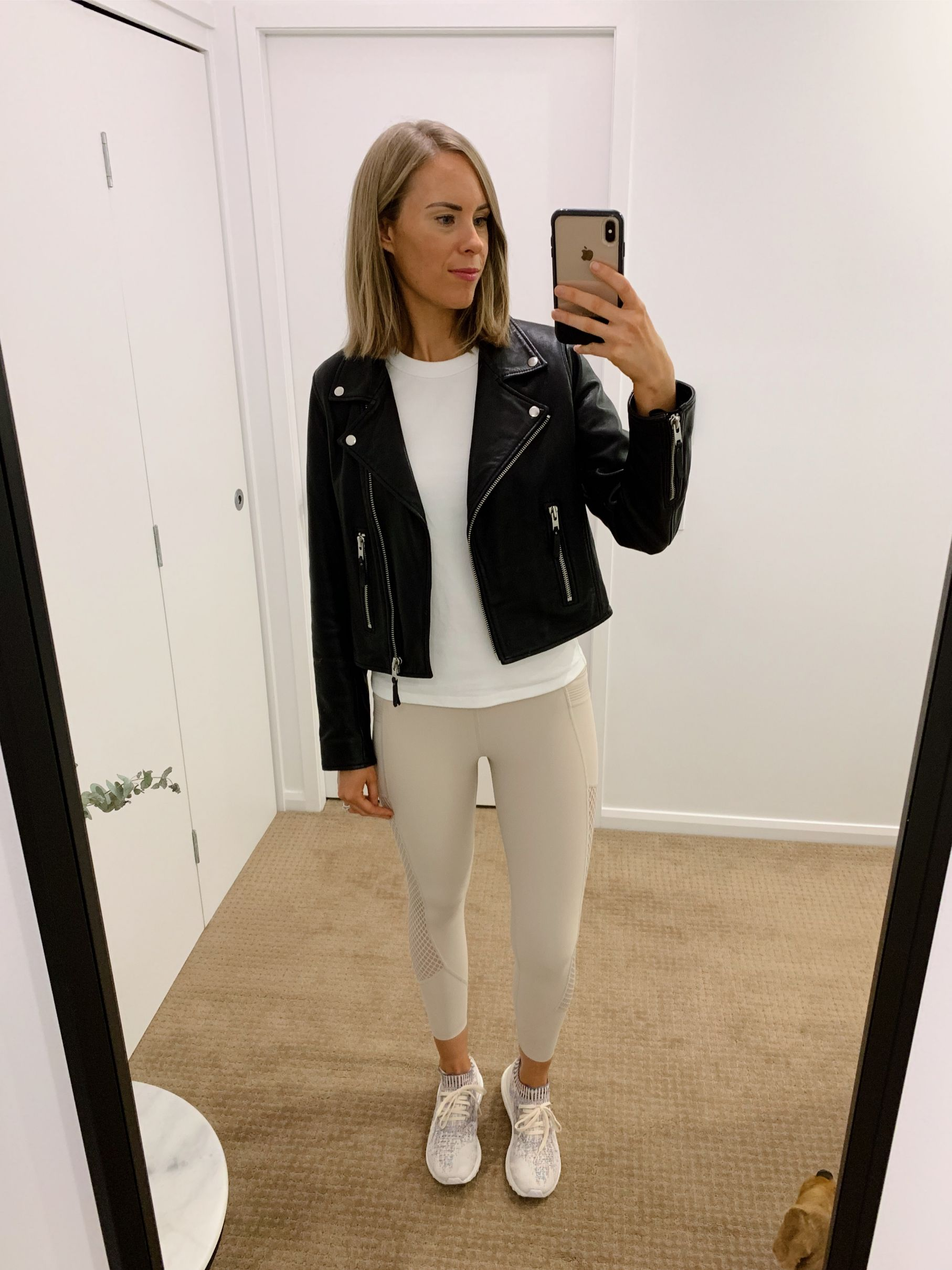 athleisure outfit ideas pinterest fashion blogger style neutral athletic wear workout everyday outfits errands black leather biker jacket white tee and leggings 5