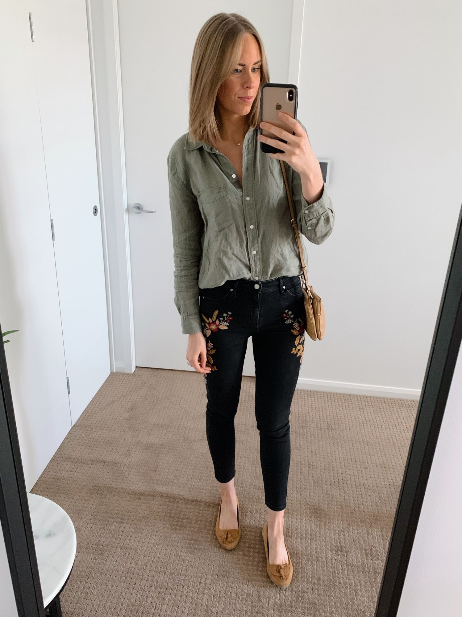 olive green linen shirt and embroidered topshop jeans fashion blogger outfit ideas pinterest style lauren slade top usa blog 1