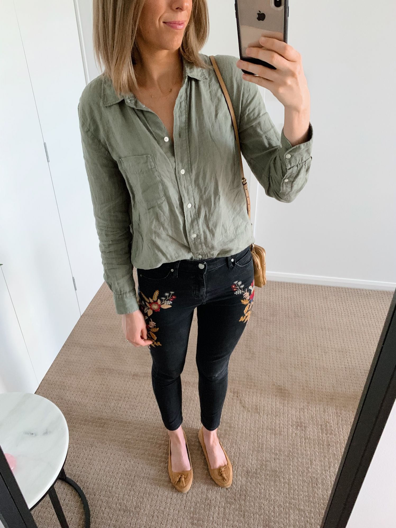 olive green linen shirt and embroidered topshop jeans fashion blogger outfit ideas pinterest style boho outfits
